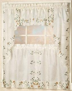 Rosemary Embroidered Floral Kitchen Curtain Collection - Lin