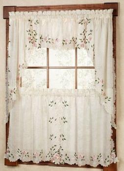 rosemary embroidered floral kitchen curtain collection rose