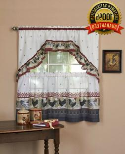 Achim Home Furnishings ROTS24BU12 Rooster Tier And Swag Set