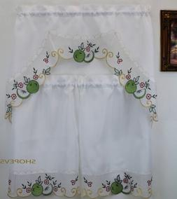 Royal Apple Green Kitchen Curtain with Swag and Tier Set 36
