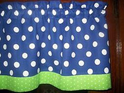 Royal Blue Lime Green Polka Dot fabric kitchen topper curtai