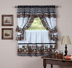 Royal Decorative Printed Kitchen Curtain Cottage Set with Ma