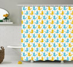 Ambesonne Rubber Duck Shower Curtain, Baby Ducklings Pattern