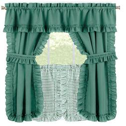 Ruffled Spring Curtain Tier Set with Tiebacks for Kitchen or