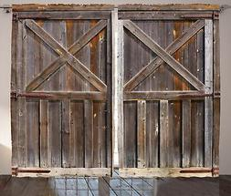 Rustic Curtains Decor by Ambesonne, Old Wooden Barn Door of