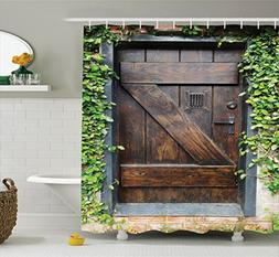 Rustic Decor Shower Curtain Set by Ambesonne, Small Spanish