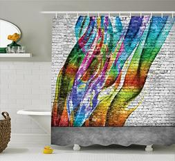 Rustic Home Decor Shower Curtain by Ambesonne, Abstract Graf