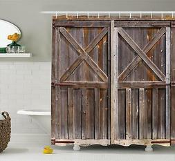 Rustic Shower Curtain by Ambesonne, Old Wooden Barn Door of