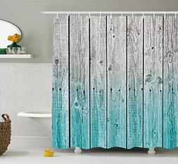 Ambesonne Rustic Shower Curtain, Wood Panels Background with