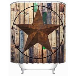 Uphome Rustic Vintage Star on Wooden Bathroom Shower Curtain