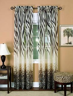 Safari Elegance Zebra Animal Print Window Curtain Panel - Se