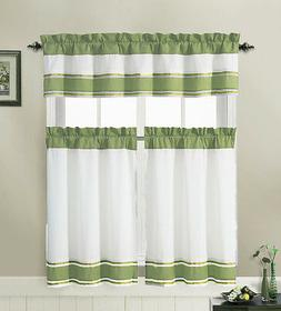Sage and White 3 Piece Kitchen Window Treatment Set with Pin