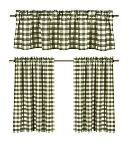 Sage Green White Kitchen Curtains: Gingham Checkered Plaid D