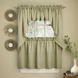 Sage Solid Opaque Ribcord Kitchen Curtains - Choice of Tiers