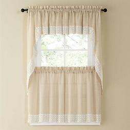 Salem Kitchen Curtain - French Vanilla w/Lace Trim - Lorrain