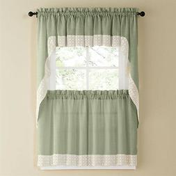Salem Kitchen Curtain - Sage w/White Lace Trim - Lorraine Ho