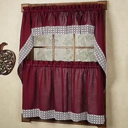 Salem Kitchen Curtain - Burgundy w/White Lace Trim - Lorrain