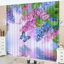 LB Natural Scenery 3D Blackout Curtains,Colorful Flowers and