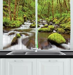 Scenery Decor Kitchen Curtains by Ambesonne, Photo of River