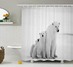 Ambesonne Sea Animals Decor Collection, Polar Bear Family wi