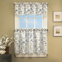 By The Sea Printed Ocean Beach Images Kitchen Curtains Tier,