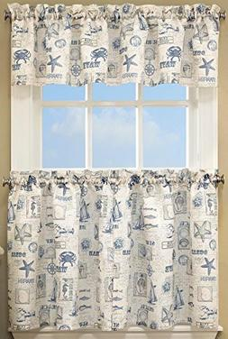 Lorraine Home Fashions by the Sea Tier Pair, 60 x 36-Inch
