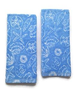 Mainstays Seashell Kitchen Towels Set of 2 Light Blue