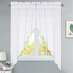 RYB HOME Semi Sheer Curtain Valance Casual Wave Textured Lin