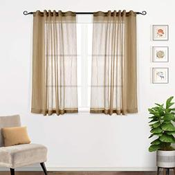 MYSKY HOME Semi Sheer Curtains 63 Inch Length for Bedroom Ro