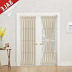 Semi Sheer French Door Panel Curtains Casual Weave Textured
