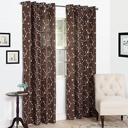 Semi Sheer Grommet Style Curtains - Floral Embroidered Patte