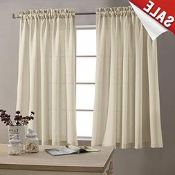 45 inch Beige Curtain Set Rod Pocket Casual Weave Window Cur
