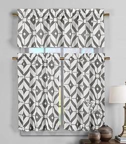 3 Piece Semi Sheer Window Curtain Set: Geometric Design, 2 T