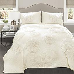 Lush Decor 3 Piece Serena Quilt Set, Full/Queen, Ivory