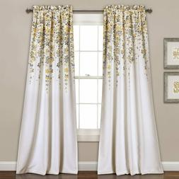 Set 2 Gray Grey Yellow Floral Vines Curtains Panels Drapes 8