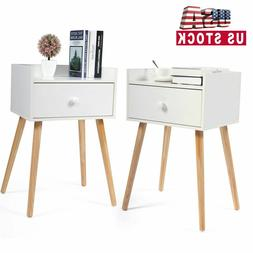 Set of 2 Bed Side End Table Solid Wood Legs Nightstand w/Dra