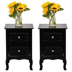 Set of 2 Sofa Side Table Bedroom Nightstands End Table w/ 2