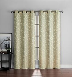 Set of Two  Leaf and Branch Design Jacquard Window Curtain P