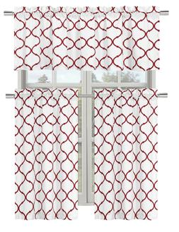 shabby trellis kitchen curtain set assorted colors