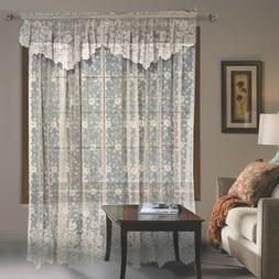 Shabby Chic Floral Lace Window Curtains With Valance White B
