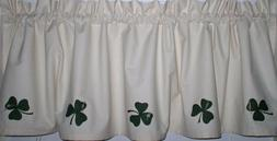 Shamrocks on Muslin Valances Tiers Primitive Country Curtain
