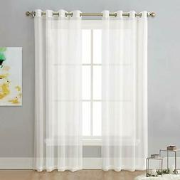 NICETOWN Sheer Curtain Panels Ivory - Eyelet Top Solid Voile