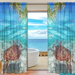 ALAZA Sheer Curtain Tropical Beach Sea Turtle Voile Tulle Wi