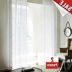 """jinchan Sheer Curtain for Living Room White 84"""" Long Floral"""