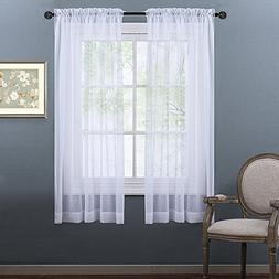 NICETOWN Sheer Curtains 63 Long - Lightweight Sheer Voile Pa