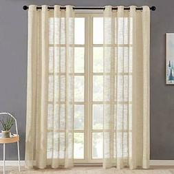 """Sheer Curtains 84 inch Length Beige Curtain Sheers Linen 54"""""""