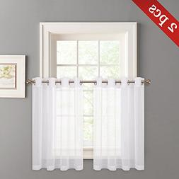 NICETOWN Sheer Curtains for Kitchen Window - Faux Linen Tran