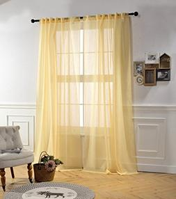 MYSKY HOME 84 Inch Sheer Curtains for Bedroom by Rod Pocket