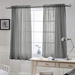 NICETOWN Voile Curtains for Kitchen Window - Privacy Linen T