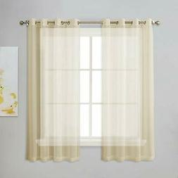 NICETOWN Sheer Curtains for Kitchen - Solid Window Treatment